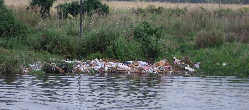 Garbage dumped on the shores of Inle Lake.