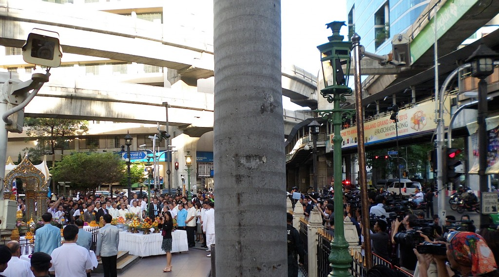 The ceremony begins at the Erawan shrine