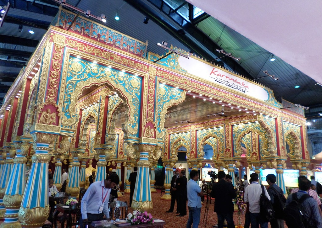 The grand Karnataka pavilion that greeted delegates upon entry to the PTM 2015 hall.