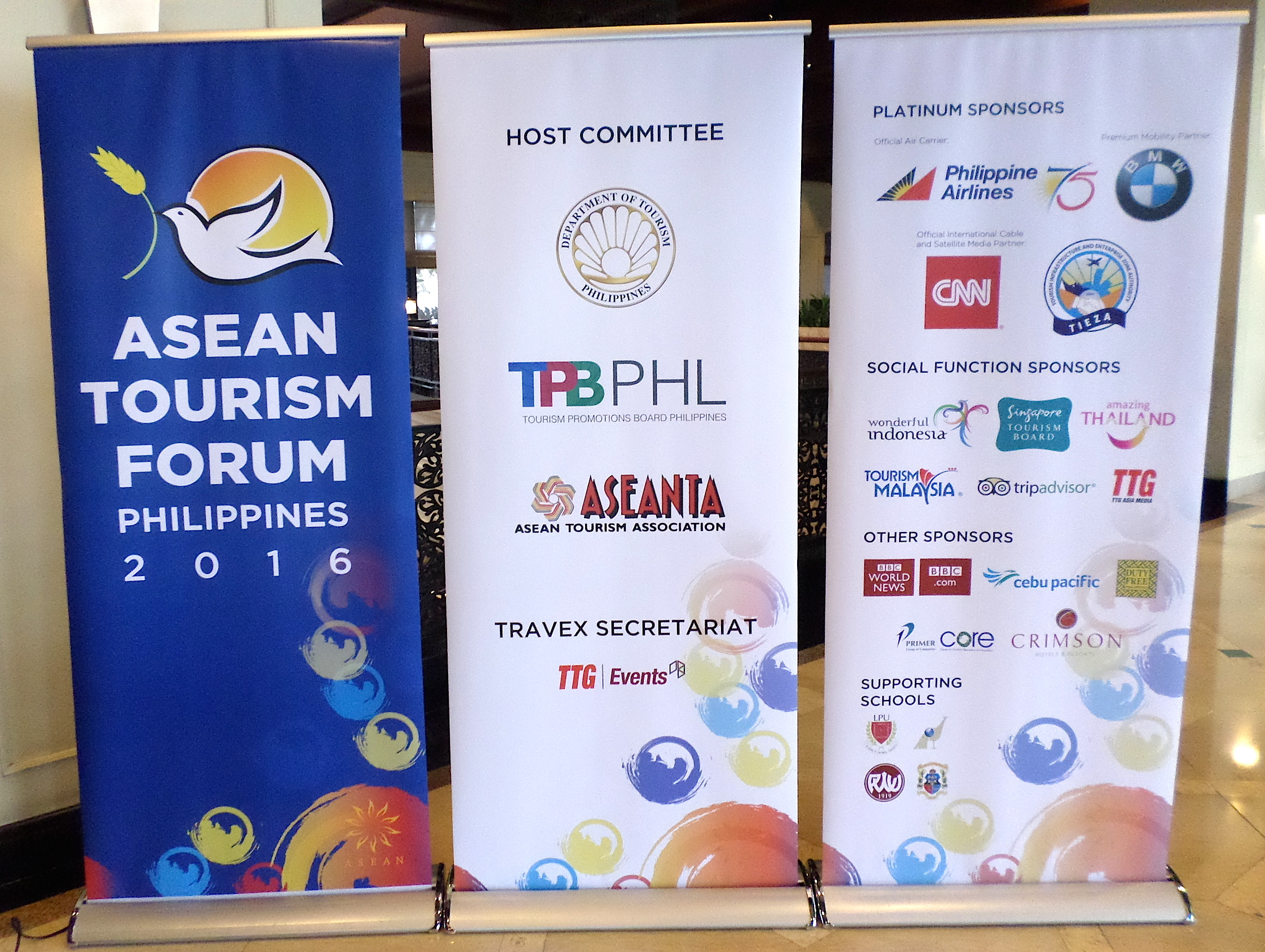 The complete array of organises and sponsors, along with the main ATF 2016 poster (left) which can be seen all over Manila's main roads. These posters were positioned in the main lobby of the Sofitel Philippines, where all the ASEAN NTO meetings are being held.