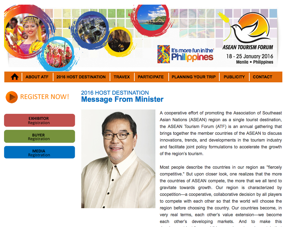 The ASEAN Tourism Forum 2016 website. No sign of any ASEAN emblem.