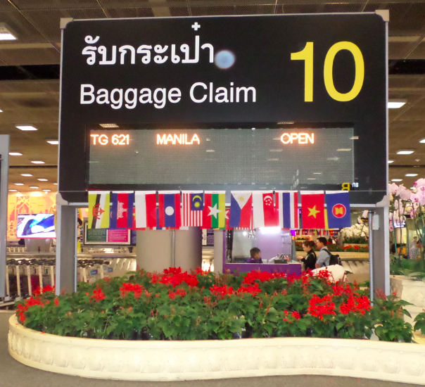 All the ASEAN country flags, plus the ASEAN flag with the ASEAN logo on the extreme right, is being displayed at all the baggage carousels of Bangkok's Suvarnabhumi airport.