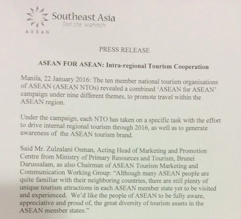 The press release announcing the ASEAN for ASEAN campaign included only the Southeast Asia logo, not the ASEAN logo, even though the name of the campaign itself is ASEAN for ASEAN.