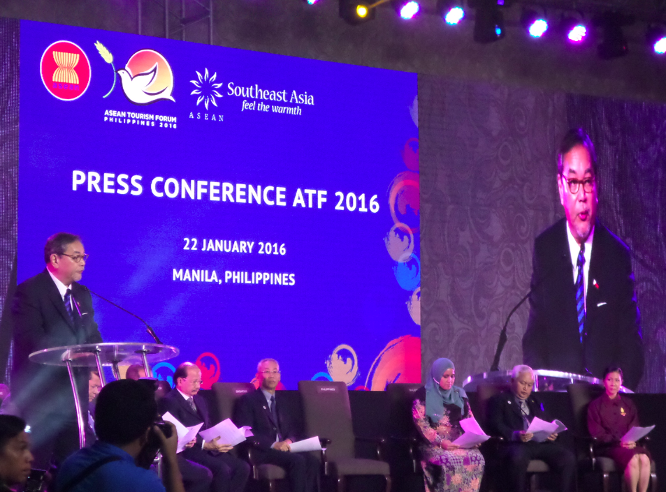 The backdrop slide for the closing ASEAN ministerial press conference included all three logos.