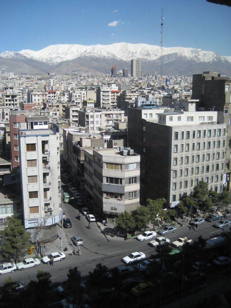 Overlooking Tehran from my hotel room, with the magnificent snow-capped mountains in the distance.
