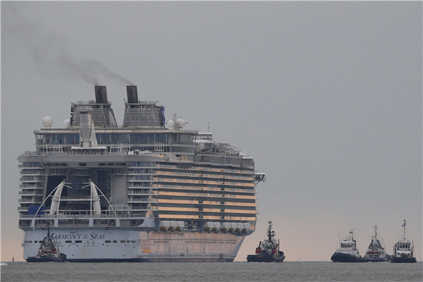 Harmony of the Seas leaves shipyard in France on Thursday. STEPHANE MAHE/REUTERS