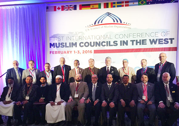 Some of the leaders of the member organizations of USCMO, the coalition of leading national and local American Muslim organizations present at the 1st International Conference of Muslim Councils in the West.