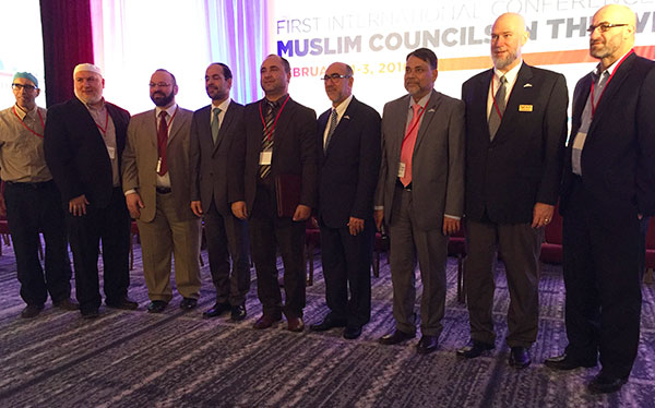Some of the leaders of the member organizations of USCMO, the coalition of leading national and local American Muslim organizations.