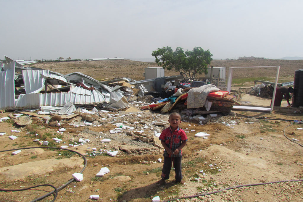 A boy in the Bedouin refugee community of Um al Khayr in the South Hebron Hills where large scale home demolitions by Israeli authorities took place. Photo: UNRWA